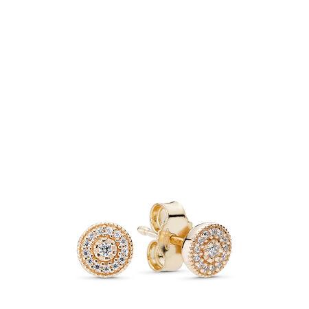 Radiant Elegance, Clear CZ, Yellow Gold 14 k, Cubic Zirconia - PANDORA - #250325CZ