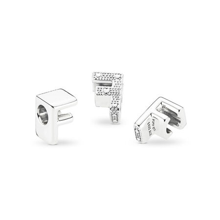 Letter F Charm, Sterling silver - PANDORA - #797460