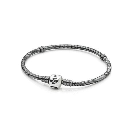 Oxidized Silver Charm Bracelet
