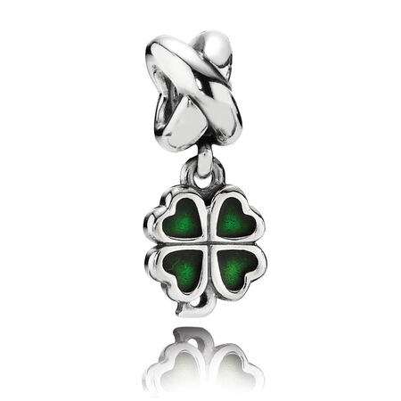 Four-Leaf Clover, Green Enamel, Sterling Silver Oxidised, Enamel, Green - PANDORA - #790572EN25