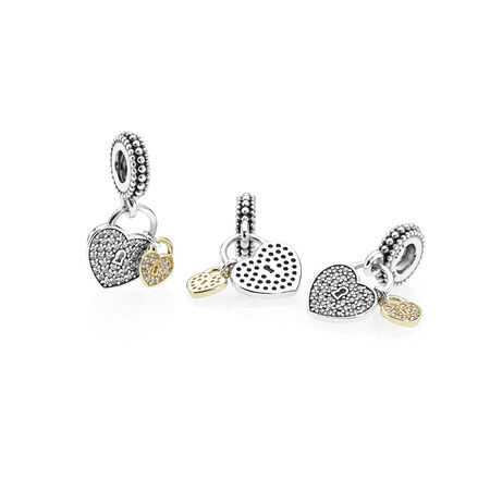 Love Locks, Clear CZ, Two Tone, Cubic Zirconia - PANDORA - #791807CZ