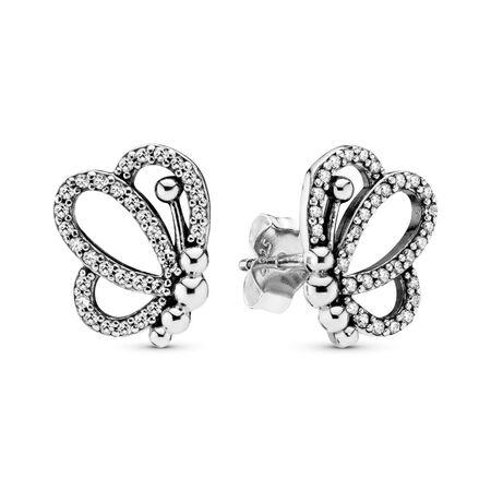 Boucles d'oreilles Silhouettes de papillons, Argent sterling, Aucun autre matériel, Aucune couleur, Zircon cubique - PANDORA - #297912CZ