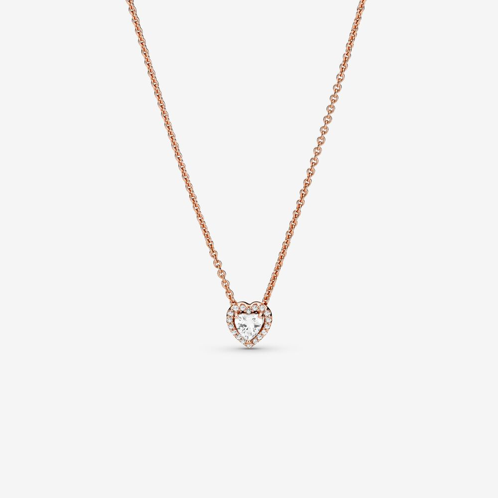 Sparkling Heart Collier Necklace | Rose gold plated | Pandora Canada