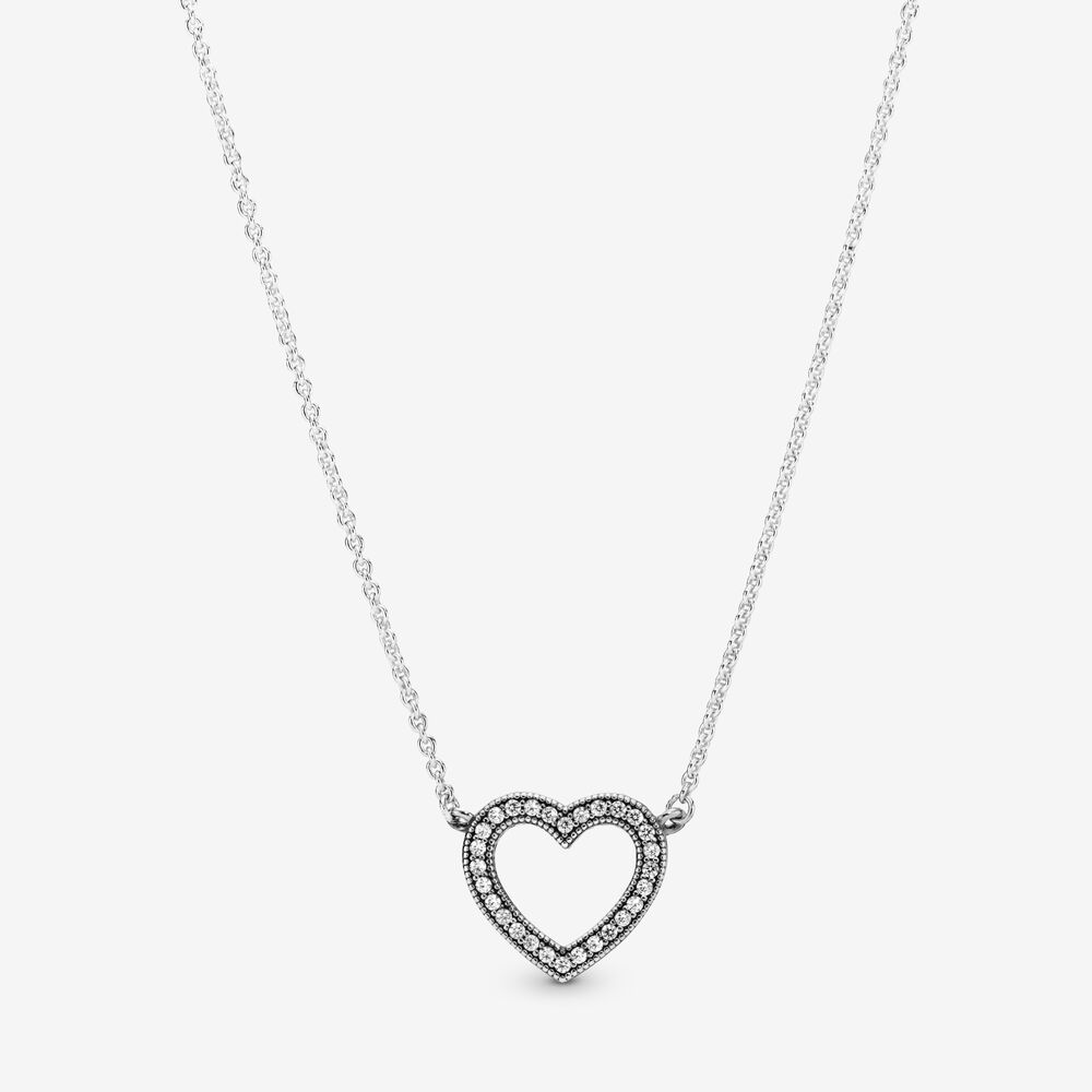 Loving Hearts of Pandora Necklace with Clear CZ | Argent sterling ...