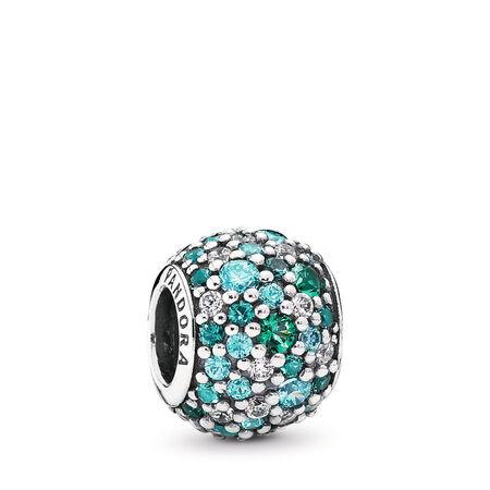 Ocean Mosaic Pavé, Mixed Green CZ & Green Crystal, Sterling silver, Green, Mixed stones - PANDORA - #791261MCZMX