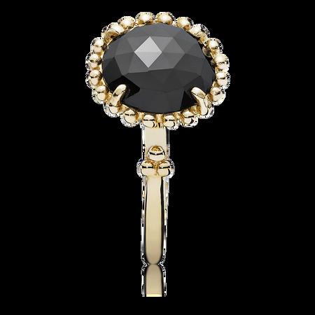 Gold ring, black spinel