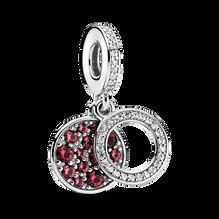 Charm-pendentif double Disque scintillant rouge