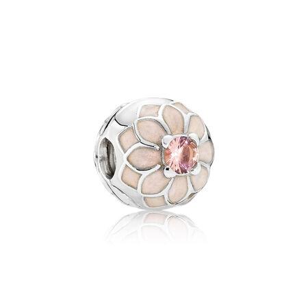 Dahlia en fleurs, émail ivoire et cristal blush