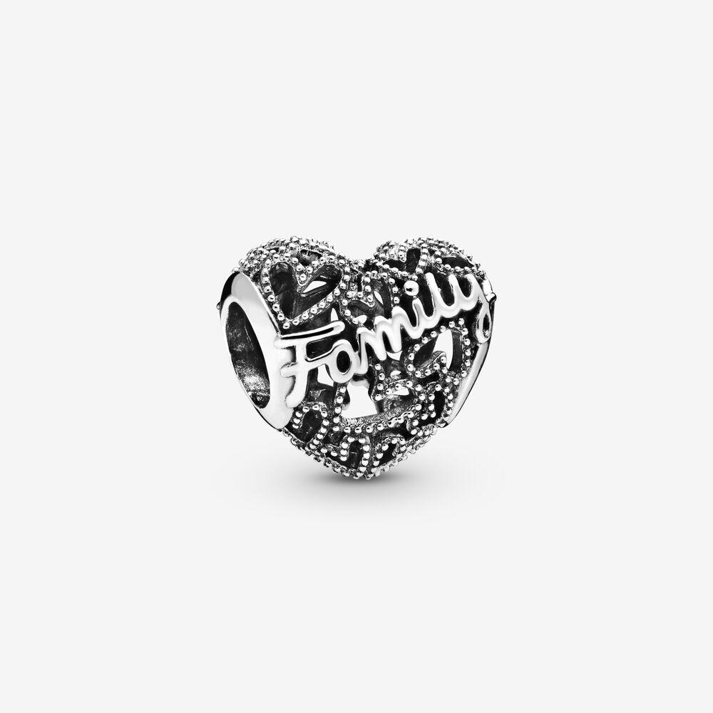 Charm en cœur avec l'inscription « Family » | Argent sterling ...