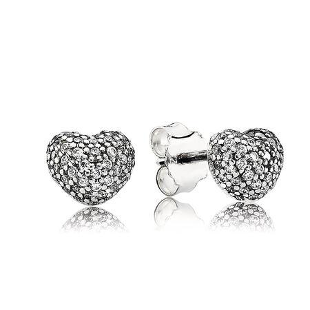 In My Heart Pavé Stud Earrings, Clear CZ, Sterling silver, Cubic Zirconia - PANDORA - #290541CZ
