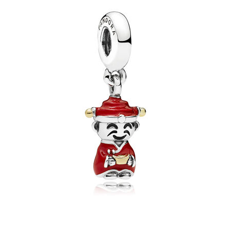 Fortune & Luck Dangle Charm, Red & Black Enamel