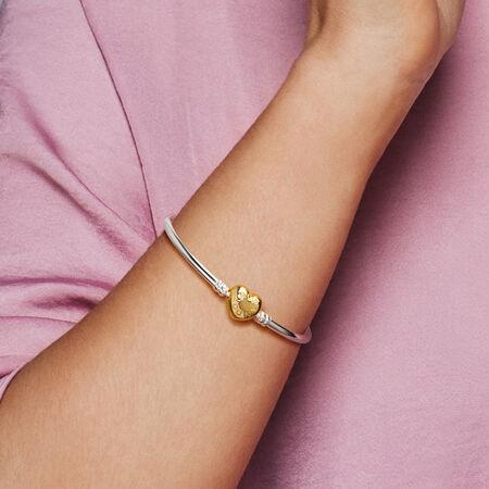 Bracelet rigide en argent, PANDORAShineMC, fermoir logo en cœur