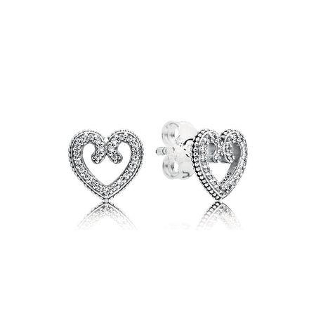 Heart Swirls Stud Earrings, Clear CZ