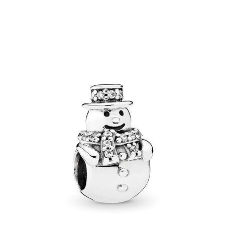 Bonhomme de neige, CZ incolore, Argent sterling, Aucun autre matériel, Aucune couleur, Zircon cubique - PANDORA - #792001CZ