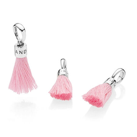 Limited Edition Bright Pink Fabric Tassel Dangle Charm