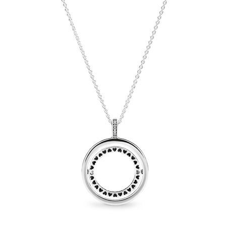 Spinning Hearts of PANDORA Necklace, Clear CZ, Sterling silver, Silicone, Cubic Zirconia - PANDORA - #397410CZ