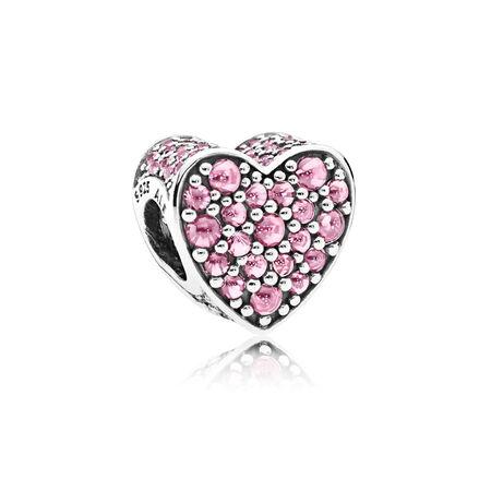 Pink Dazzling Heart, Pink CZ