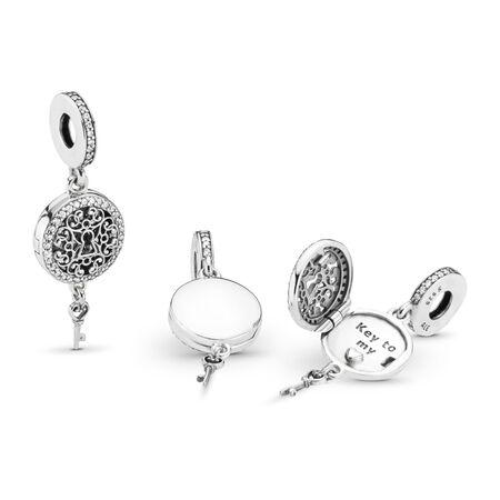 Charm pendentif Clé d'amour royal, cz incolore