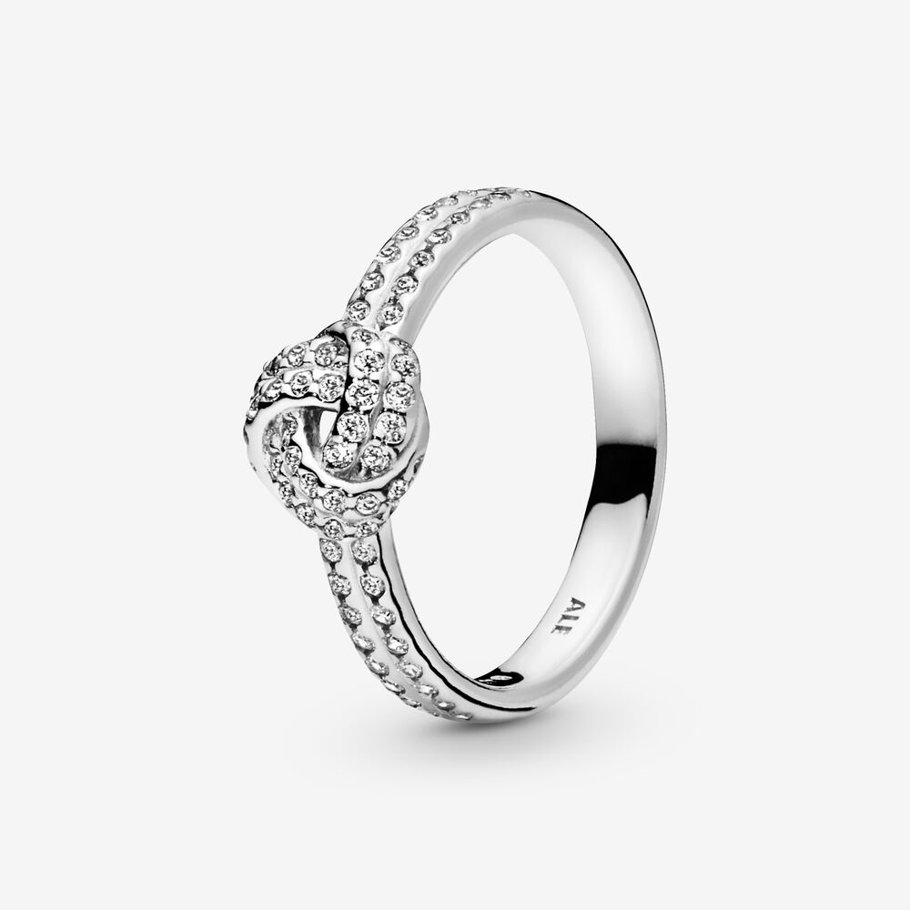 Sparkling Love Knot Ring with Cubic Zirconia   Argent sterling ...