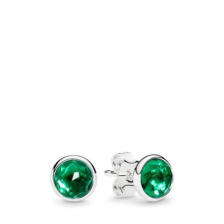 Gouttelettes de mai, cristal vert royal, Argent sterling, Aucun autre matériel, Vert, Cristal - PANDORA - #290738NRG