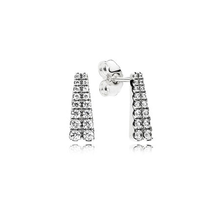 Shooting Stars Stud Earrings, Clear CZ