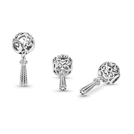 Enchanted Heart Tassel Charm, Sterling silver - PANDORA - #797037