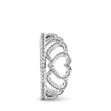 Hearts Tiara Ring, Clear CZ, Sterling silver, Cubic Zirconia - PANDORA - #190958CZ