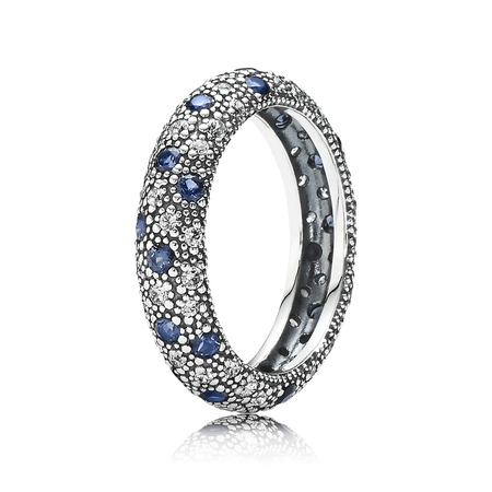 Cosmic Stars Stackable Ring, Blue Crystal & CZ