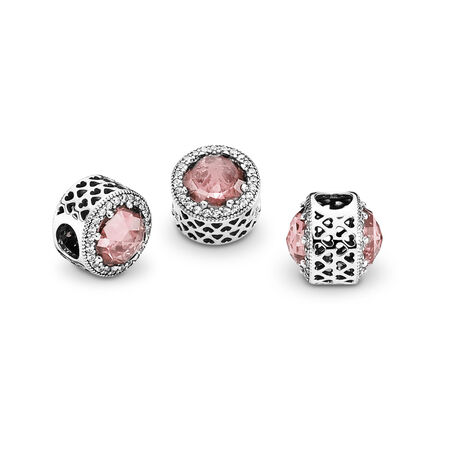 Radiant Hearts, Blush Pink Crystal & Clear CZ, Sterling silver, Pink, Mixed stones - PANDORA - #791725NBP