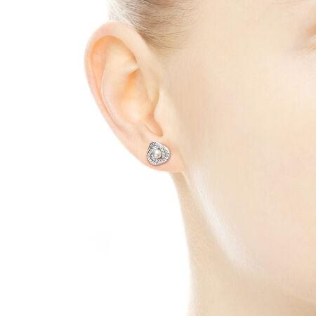 Nœud d'amour lumineux, perles de cristal blanches et cz incolore