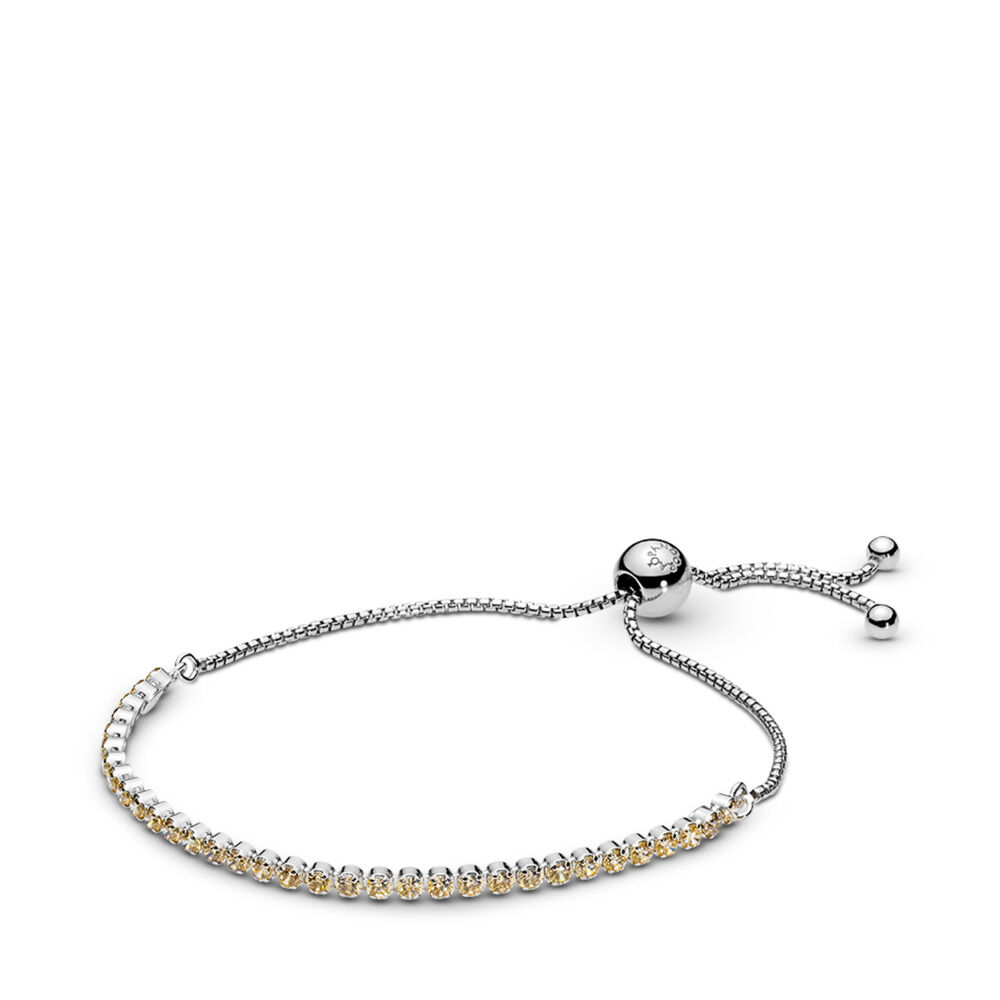 b32a2aa4b Golden Sparkling Strand Bracelet, Golden-Colored CZ