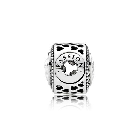PASSION, Clear CZ, Sterling silver, Silicone, Cubic Zirconia - PANDORA - #796081CZ