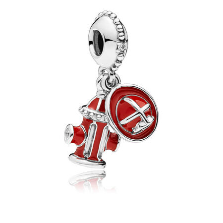 Firefighter Essentials Dangle Charm, Clear CZ & Mixed Enamel
