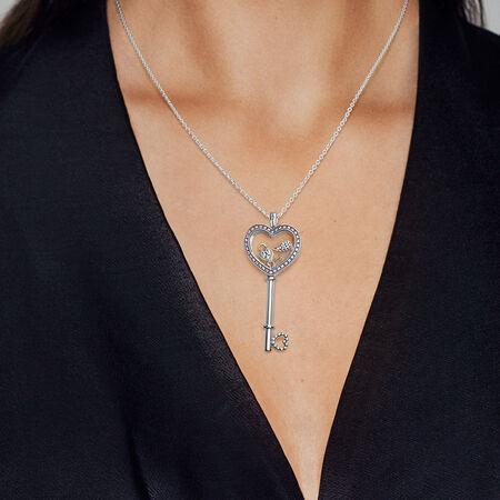 Grand loquet flottant clé en cœur, cristal de saphir et cz rose fuchsia de fantaisie