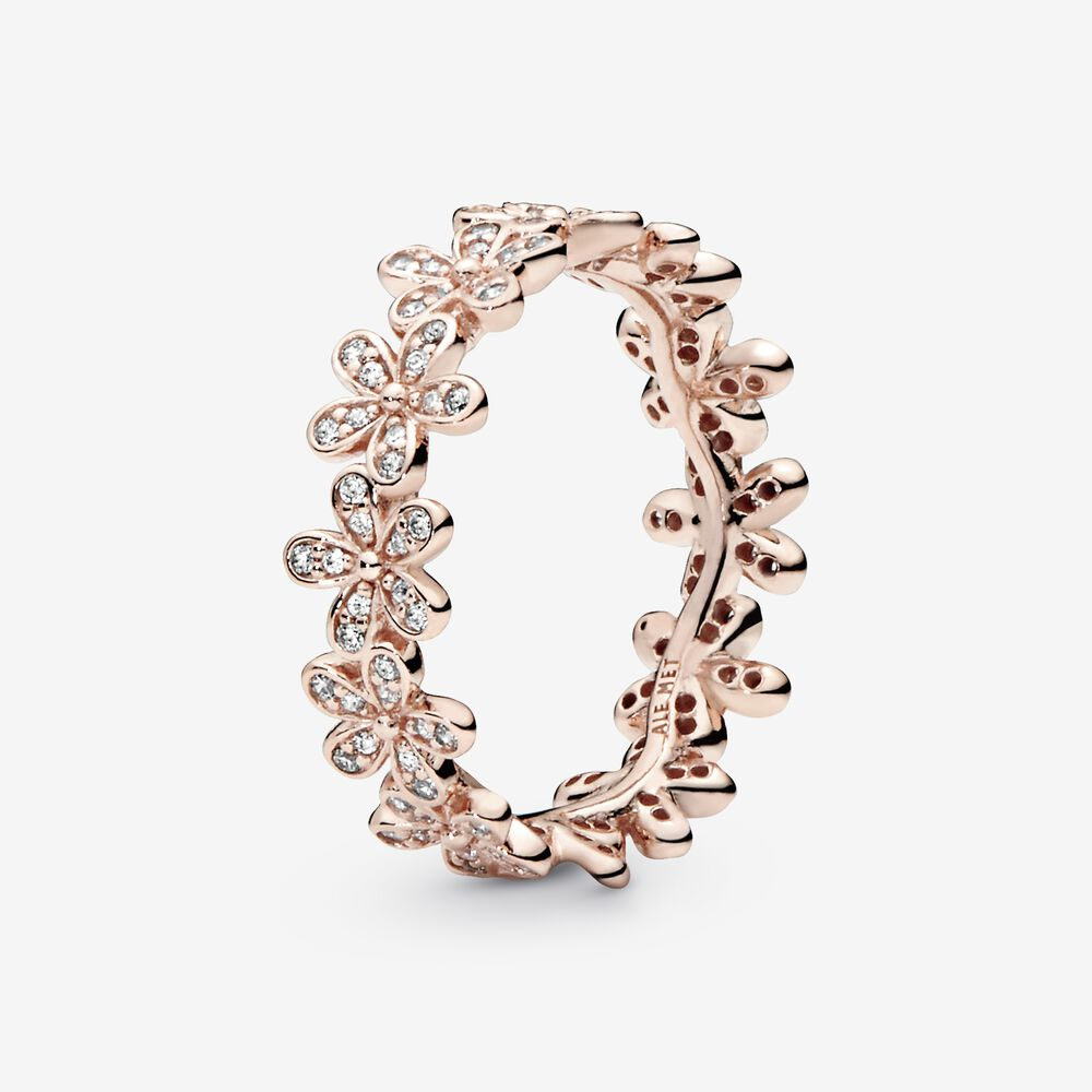 Dazzling Daisy Ring in Pandora Rose™ & Clear CZ | Plaqué or rose ...
