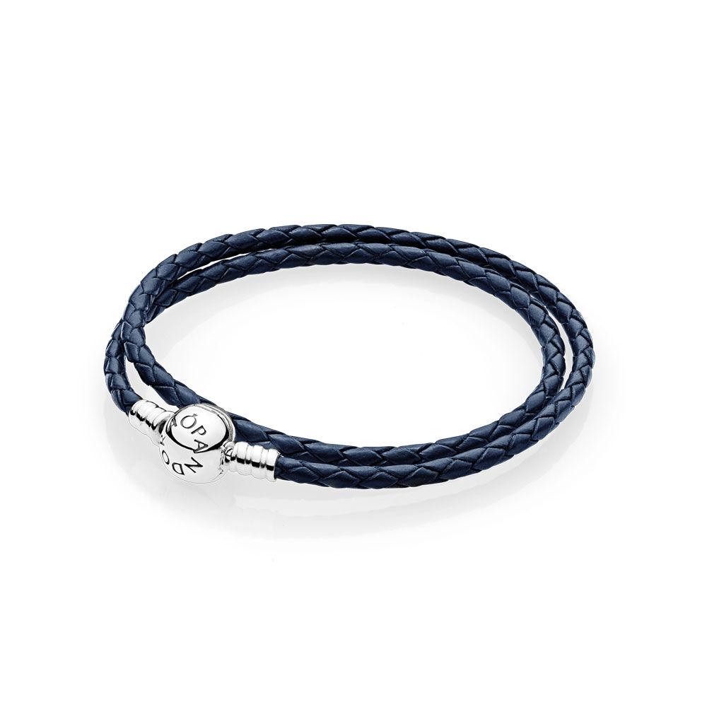 Dark Blue Braided Double Leather Charm Bracelet