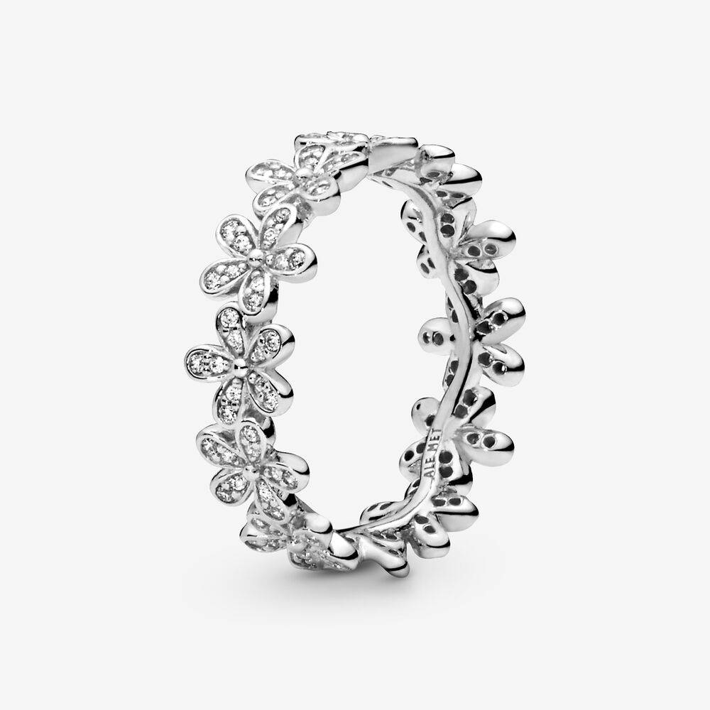 Dazzling Daisy Meadow Stackable Ring with Clear CZ | Argent ...
