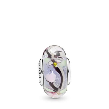 Enchanted Garden Murano Glass Charm, Sterling silver, Glass, Black - PANDORA - #797014