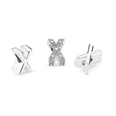 Letter X Charm, Sterling silver - PANDORA - #797478