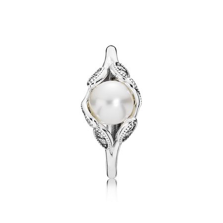 Luminous Leaves, White Pearl & Clear CZ