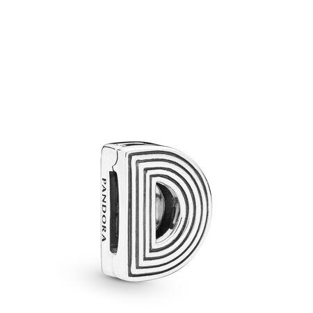 Charm Lettre D Pandora Reflexions, Argent sterling, Silicone, Aucune couleur, Aucune pierre - PANDORA - #798200