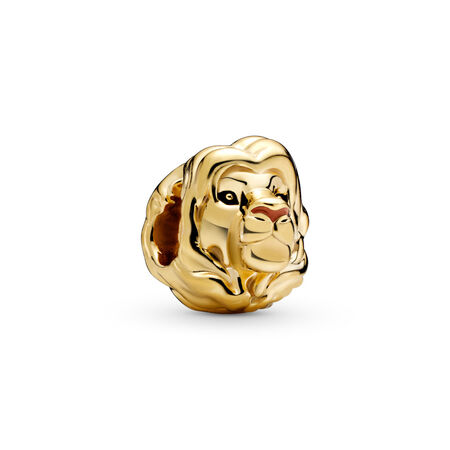 Charm Disney, Le roi lion Simba, Or Plaqué 18ct, émail, Aucune pierre - PANDORA - #768049ENMX