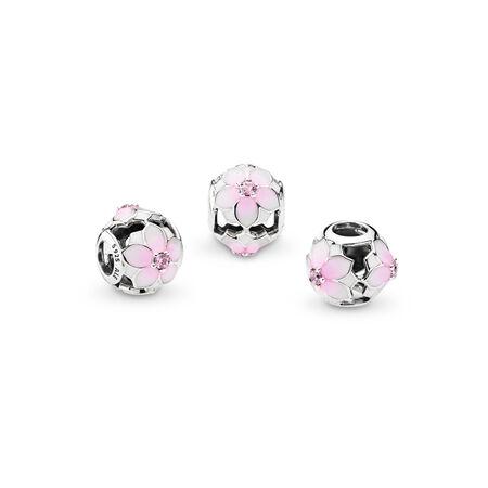 Magnolia Bloom, Pale Cerise Enamel & Pink CZ, Sterling silver, Enamel, Pink, Cubic Zirconia - PANDORA - #792087PCZ