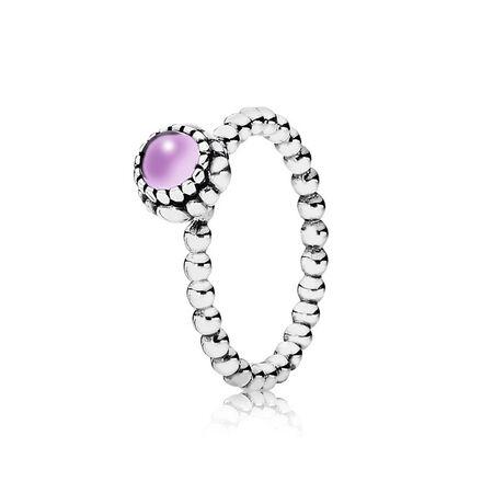 Silver ring, birthstone-February, amethyst