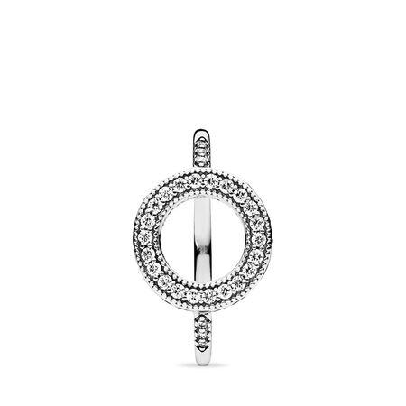 Hearts of PANDORA Halo, Clear CZ, Sterling silver, Cubic Zirconia - PANDORA - #191039CZ-54