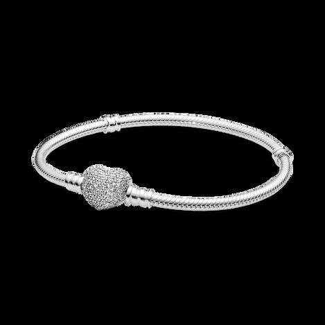 Bracelet à fermoir en cœur scintillant et à chaîne serpentine PandoraMoments
