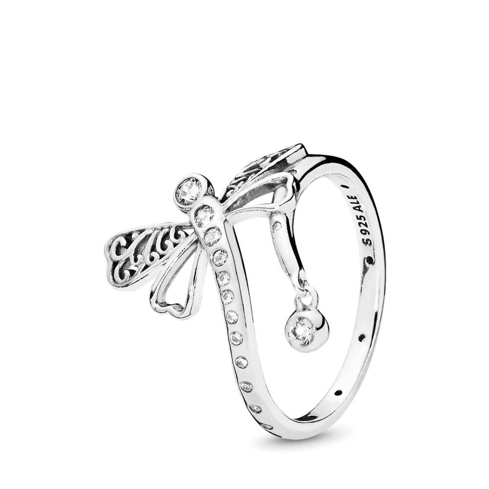 512c884c2 Dreamy Dragonfly Ring, Clear CZ