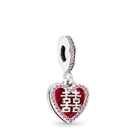 Charm pendentif Double cœur heureux, émail rouge cramoisi et cz multicolore