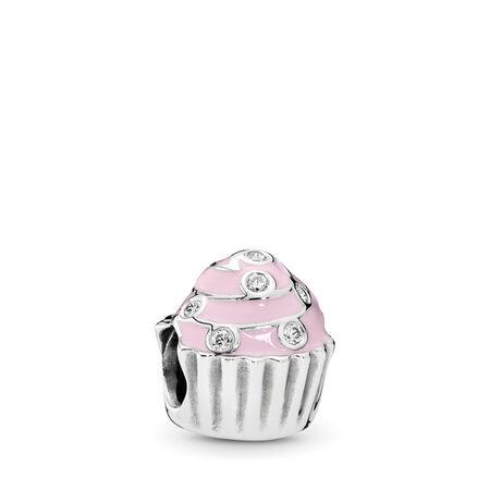 Petit gâteau sucré, émail rose doux et cz incolore