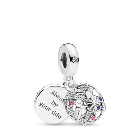 Always By Your Side Dangle Charm, Multi-coloured CZ & Purple Enamel
